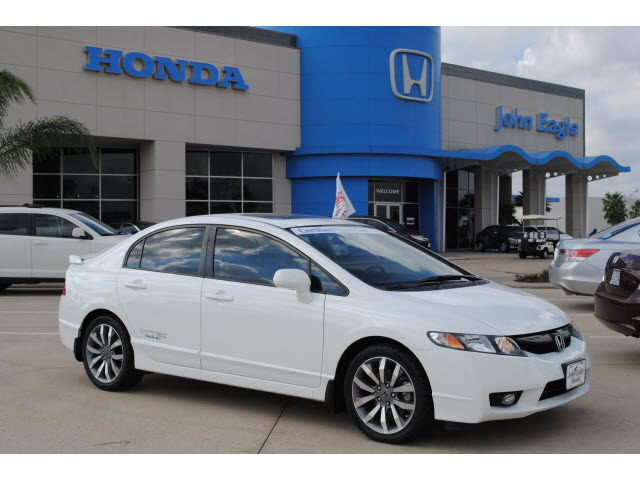 honda civic 2009 white sedan si gasoline 4 cylinders front wheel drive 6 speed manual 77065. Black Bedroom Furniture Sets. Home Design Ideas